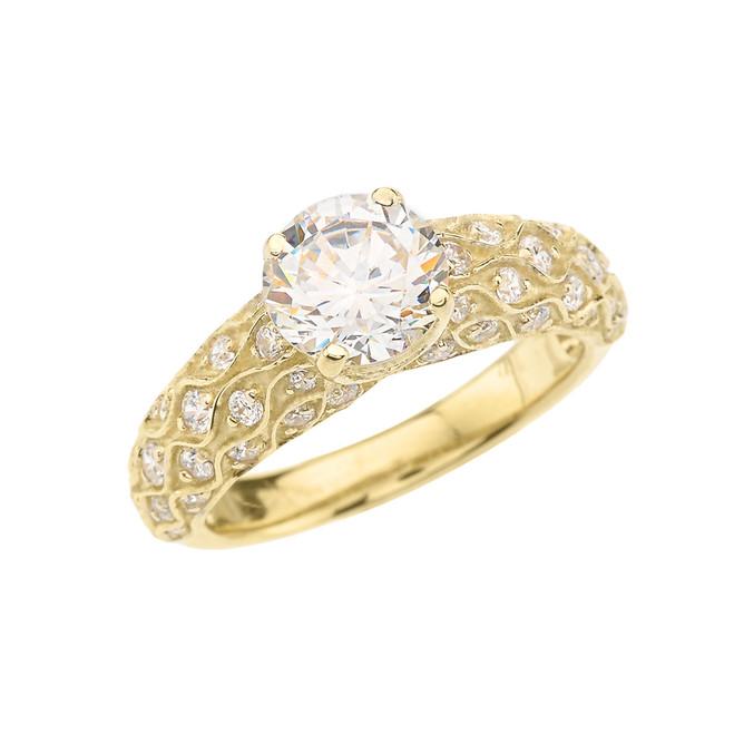 Yellow Gold Diamond Engagement Ring With White Topaz Center Stone