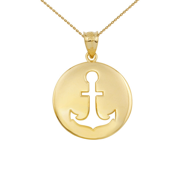 Yellow Gold Anchor Silhouette Circle Pendant Necklace