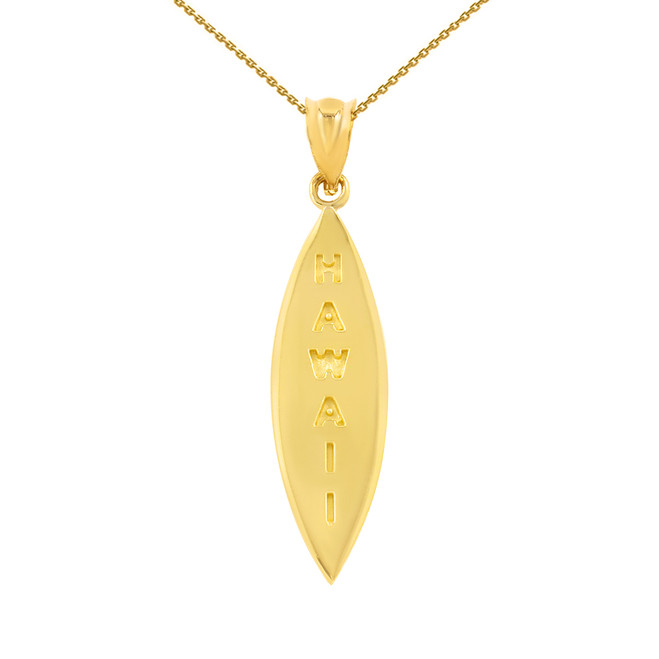 Yellow Gold Hawaii Surfboard Pendant Necklace