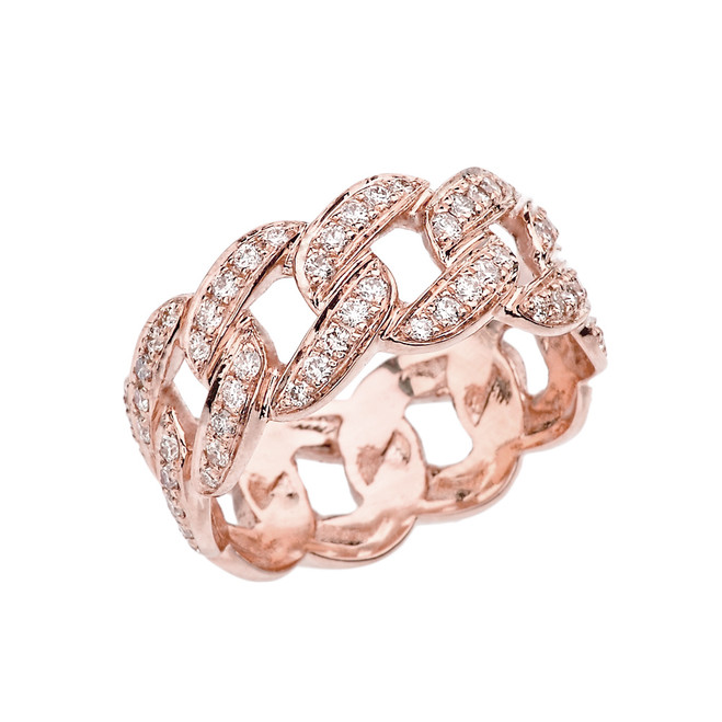 Unisex Rose Gold Cuban Link Chain Design Diamond Eternity Band