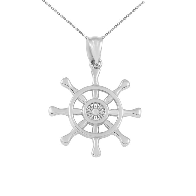 Sterling Silver Nautical Ship  Wheel Pendant Necklace
