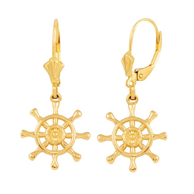 14K Yellow Gold Nautical Ship Wheel Earring Set