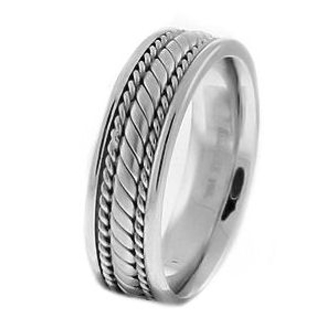 White Gold Comfort Fit Hand Braided Wedding Band