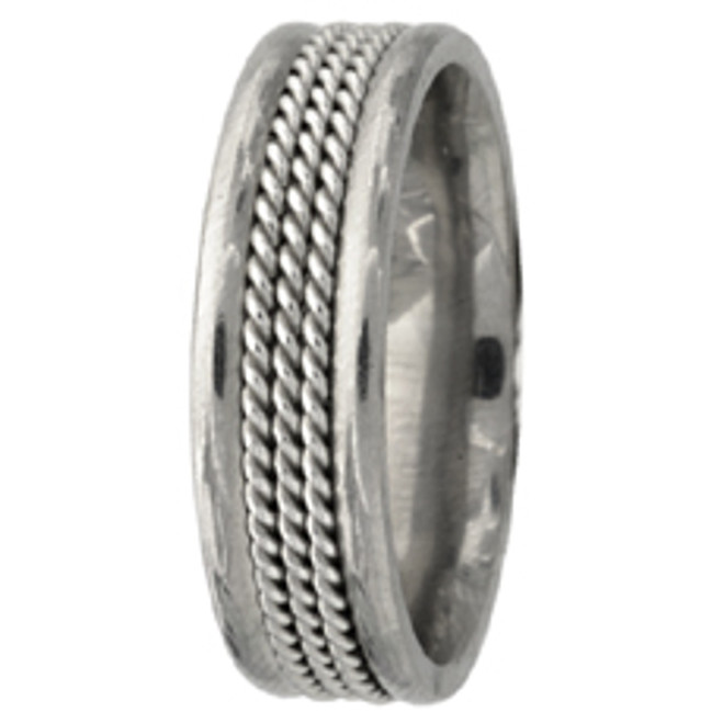 Hand Braided White Gold Comfort Fit Wedding Band