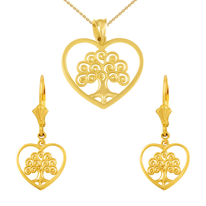 14k Yellow Gold Tree of Life Open Heart Filigree Pendant Necklace Earring Set