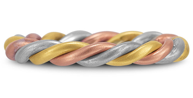 Gold Twisted Rope Wedding Band Tri-Color