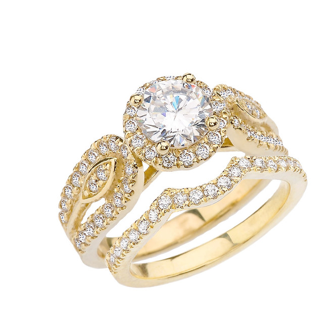 Yellow Gold Elegant Cubic Zirconia Engagement/Wedding Ring Set