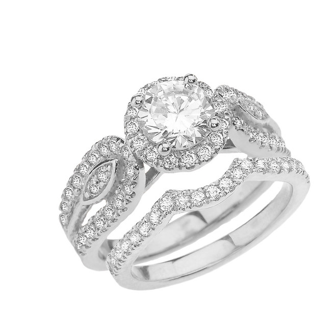White Gold Elegant Cubic Zirconia Engagement/Wedding Ring Set