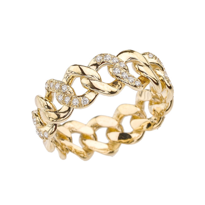 Yellow Gold 7 mm Diamond Cuban Link Band
