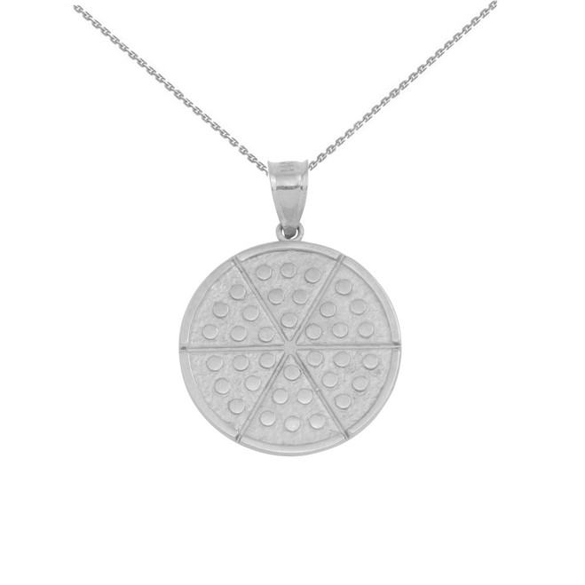 Sterling Silver Six Slice Pizza Circle Pendant Necklace