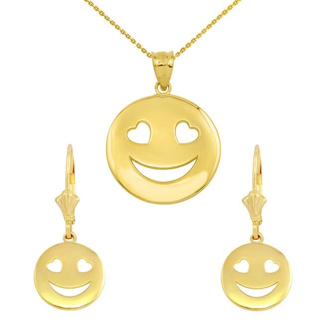 14K Yellow Gold  Heart Eyes Smiley Face Pendant Necklace Earring Set