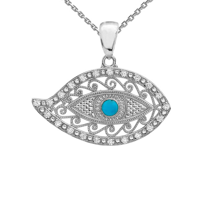 White Gold Evil Eye Diamond Pendant Necklace With Turquoise Center Stone