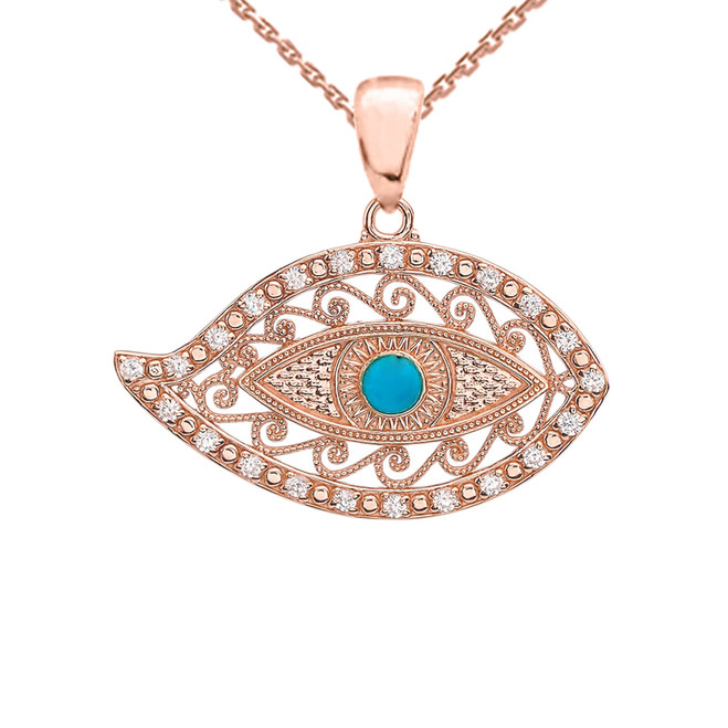 Rose Gold Evil Eye Diamond Pendant Necklace With Turquoise Center Stone