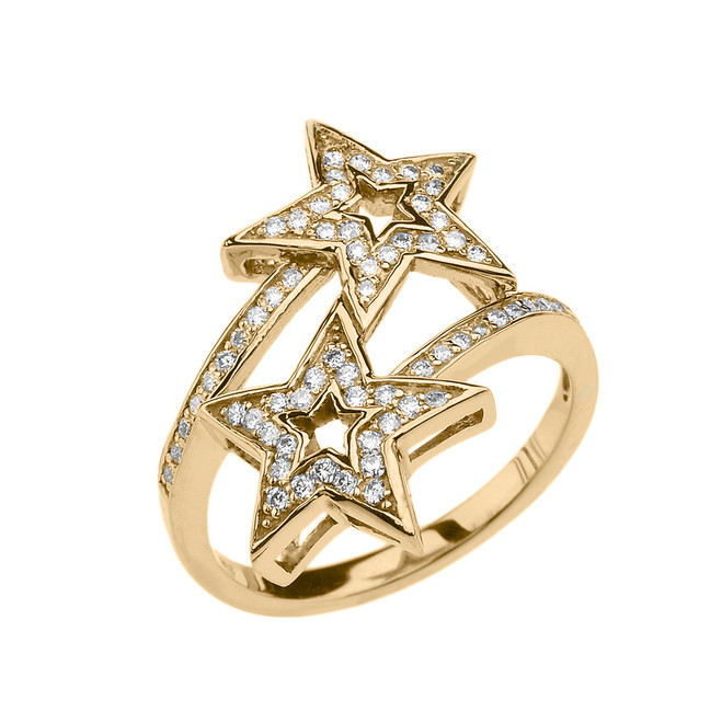 Yellow Gold Double Star Fancy Anniversary Ring