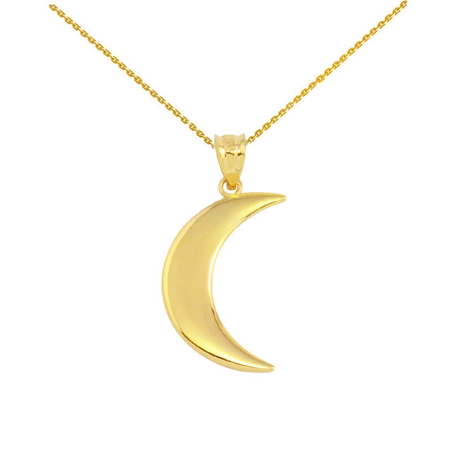 Yellow Gold Crescent Moon Pendant Necklace