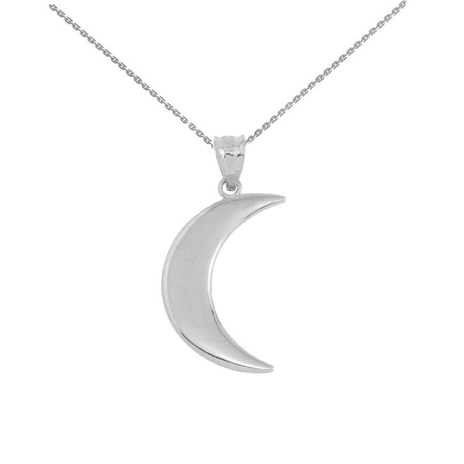 White Gold Crescent Moon Pendant Necklace