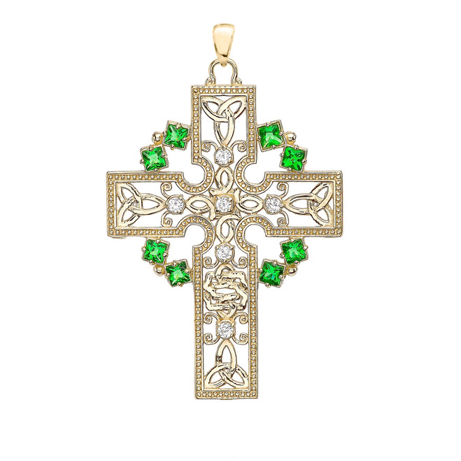 Yellow Gold Fancy Celtic Gemstone and Diamond Cross Pendant Necklace