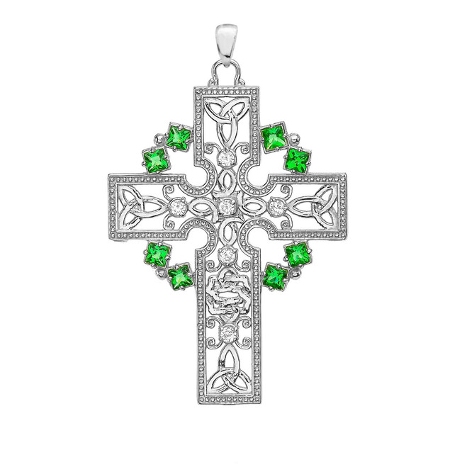 White Gold Fancy Celtic Gemstone and Diamond Cross Pendant Necklace