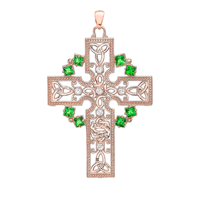 Rose Gold Fancy Celtic Gemstone and Diamond Cross Pendant Necklace