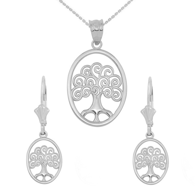 Sterling Silver Tree of Life Filigree Swirl Celtic Pendant Necklace Earring Set