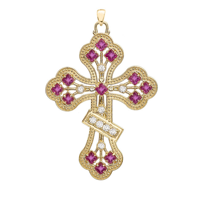 Yellow Gold Fancy Cross Diamond Pendant Necklace With Gemstone