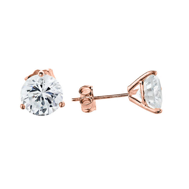 Rose Gold CZ Martini Stud Earrings