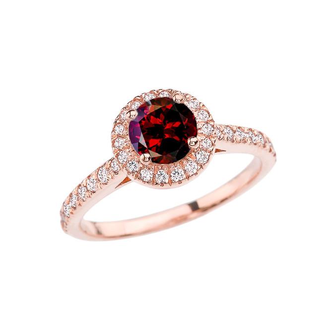 Rose Gold Diamond and Garnet Engagement/Proposal Ring