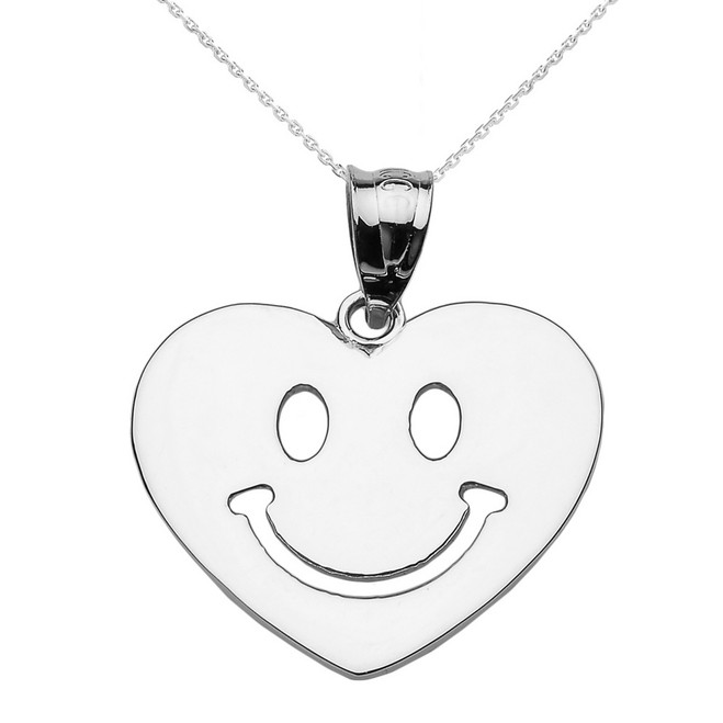 Sterling Silver Happy Smiley Face Heart Pendant Necklace