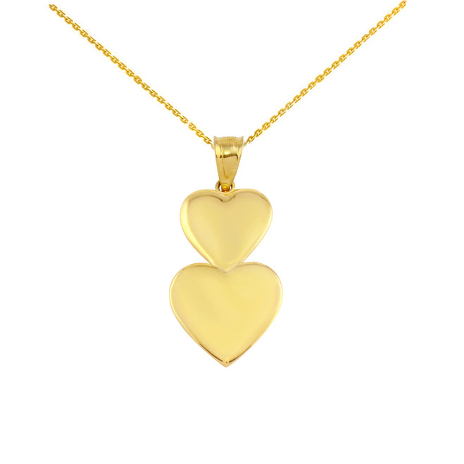 Solid Yellow Gold Two Stacked Hearts Love Pendant Necklace