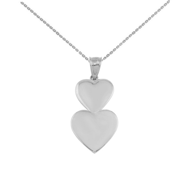 Solid White Gold Two Stacked Hearts Love Pendant Necklace