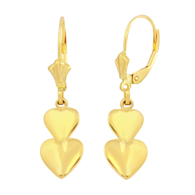 14K Yellow Solid Gold Two Stacked Hearts Love Earring Set