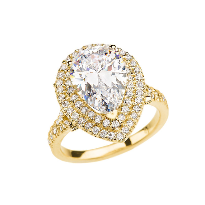 Yellow Gold Double Raw Diamond Engagement/Proposal Ring With 7 Ct Pear Cut Cubic Zirconia Center Stone