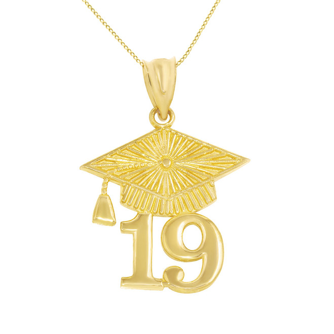 Solid Yellow Gold 2019 Graduation Cap Pendant Necklace