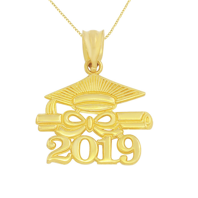 Solid Yellow Gold Class of 2019 Graduation Diploma & Cap Pendant Necklace