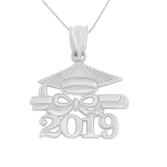 Solid White Gold Class of 2019 Graduation Diploma & Cap Pendant Necklace
