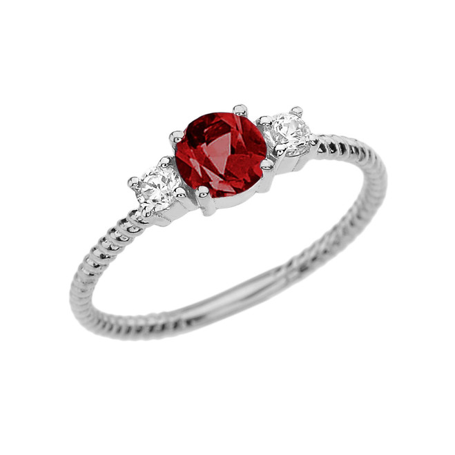 Dainty White Gold Garnet and White Topaz Rope Design Engagement/Promise Ring