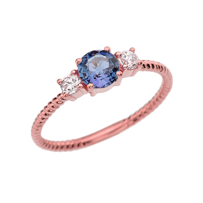 Dainty Rose Gold Alexandrite and White Topaz Rope Design Engagement/Promise Ring