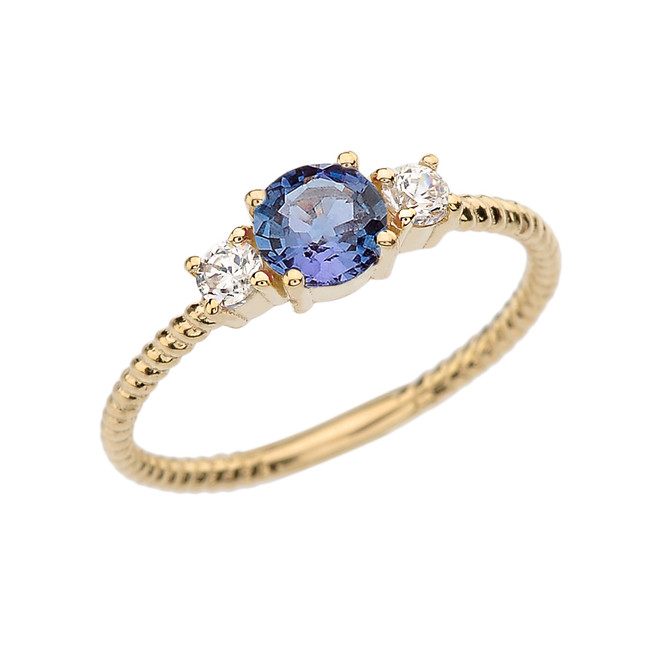 Dainty Yellow Gold Alexandrite and White Topaz Rope Design Engagement/Promise Ring