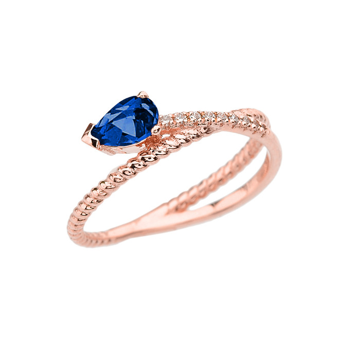 Rose Gold Criss-Cross Sapphire Rope and Diamonds Designer Ring