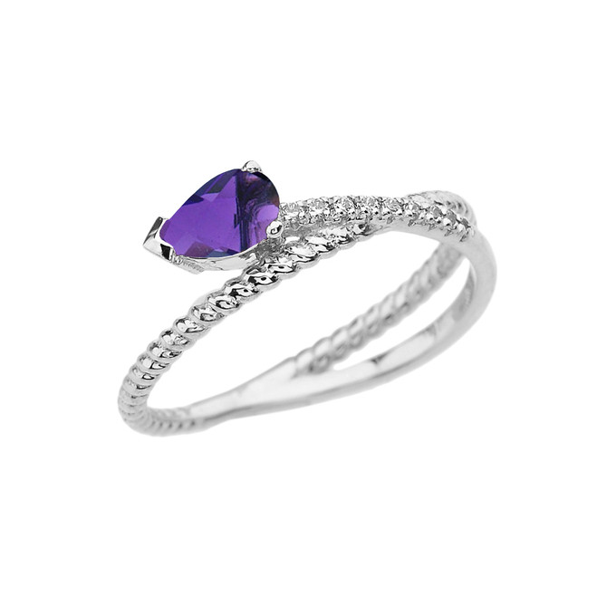 White Gold Criss-Cross Amethyst Rope and Diamonds Designer Ring