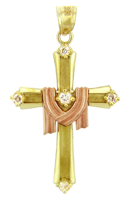 Yellow Gold Cross Pendant - The Lamb Two Tone Cross