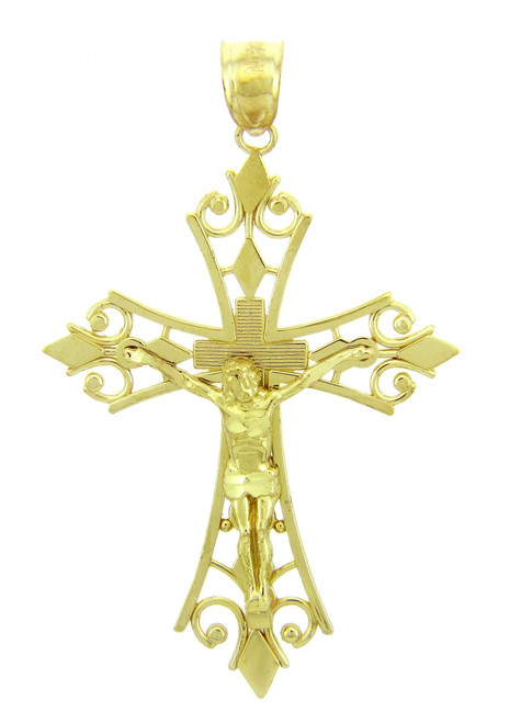 Yellow Gold Crucifix Pendant - The Agape Crucifix