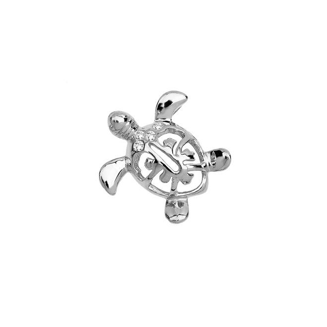 Sterling Silver Diamond Hawaiian Lucky Charm Honu Turtle Hidden Bail Pendant Necklace