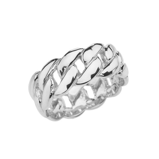 White Gold 8 mm Cuban Link Ring Band