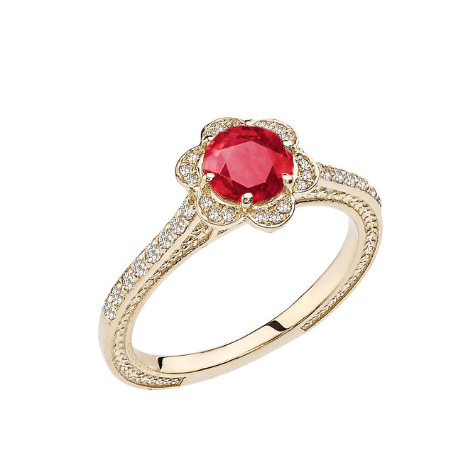 Ruby and Diamond Yellow Gold Engagement/Proposal Ring