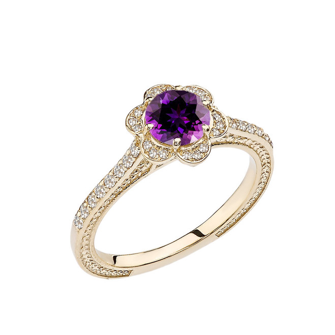 Amethyst and Diamond Yellow Gold Engagement/Proposal Ring