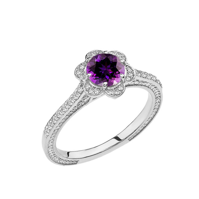 Amethyst and Diamond White Gold Engagement/Proposal Ring