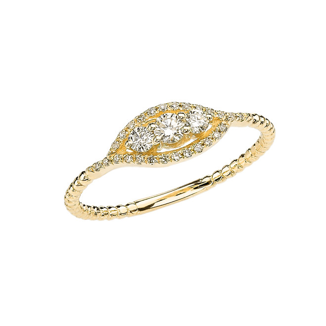 Yellow Gold Dainty Three Stone Diamond Rope Design Engagement/Promise Ring