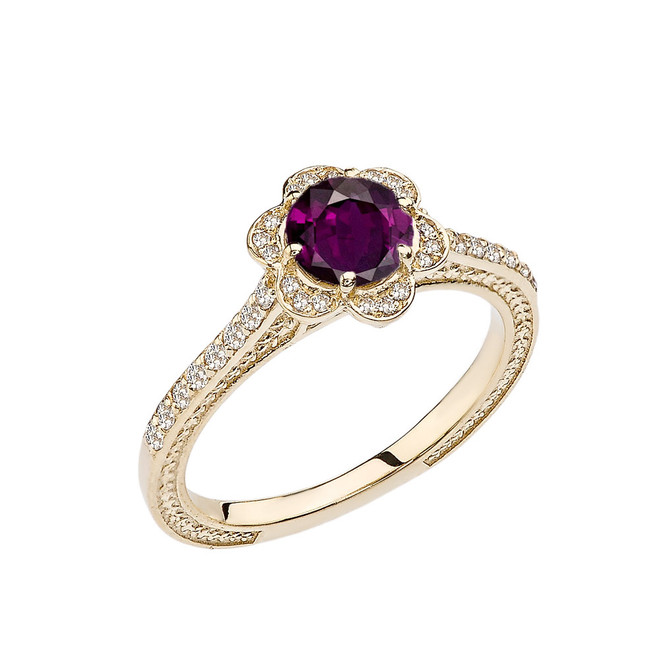 Alexandrite(LCAL) and Diamond Yellow Gold Engagement/Proposal Ring