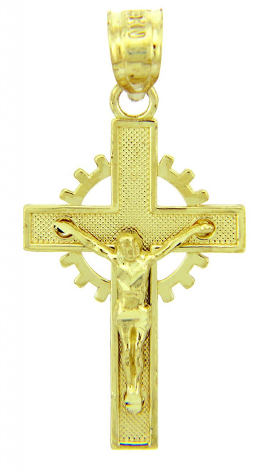 Yellow Gold Crucifix Pendant - The Crown Crucifix